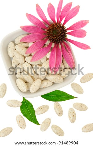 Echinacea purpurea extract pills, alternative medicine concept - stock photo