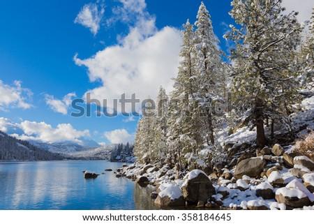Echo Lake in the winter  - stock photo