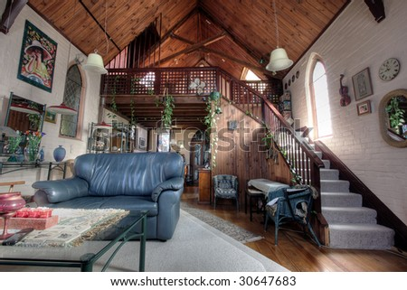 The Living Room Church eclectic living room church converted into stock photo 30647680