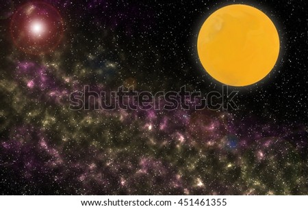 Eclipse of the beautiful moon . Full moon for background use . Night sky with stars and full moon illustration . Outer space. Full moon . Yellow moon - stock photo