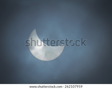Eclipse of the sun;  March 20, 2015; Ukraine, Kharkov - stock photo