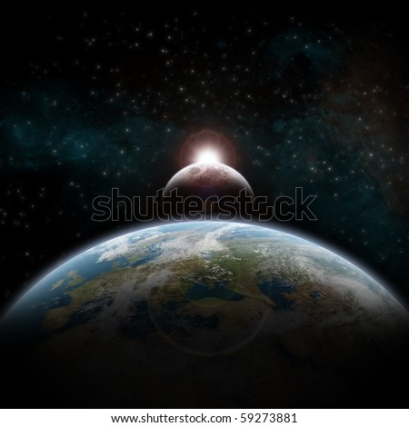 Eclipse of the sun over Europe - stock photo
