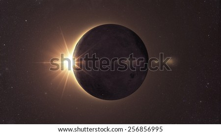 Eclipse of the sun, Solar eclipse Elements of this image furnished by NASA - stock photo