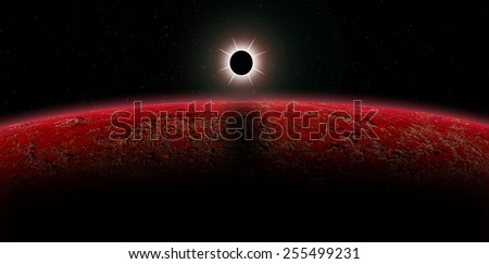 Eclipse over a Alien planet. - stock photo