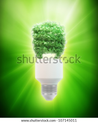 Eco and green energy concept illustration - leaf covered bulb - stock photo