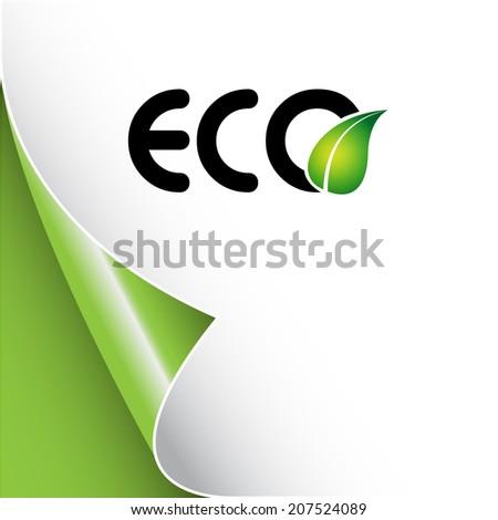 Eco background with leaf logo Raster version - stock photo