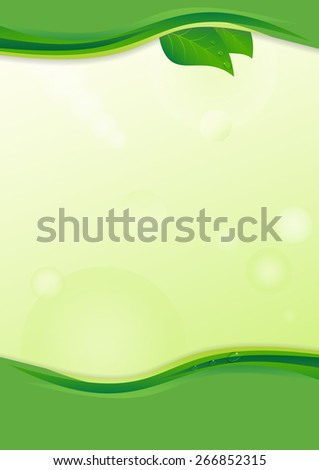 Eco background with leaves and water drops