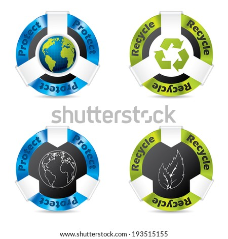 Eco badge designs for earth and nature protection - stock photo