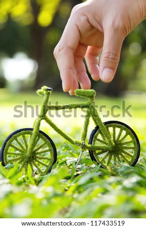 Eco bicycle icon - stock photo