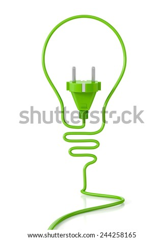 Eco bulb concept, with plug isolated on white background. 3d illustration. Green concept - stock photo