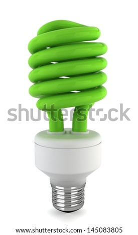 Eco bulb. 3d illustration on white background - stock photo