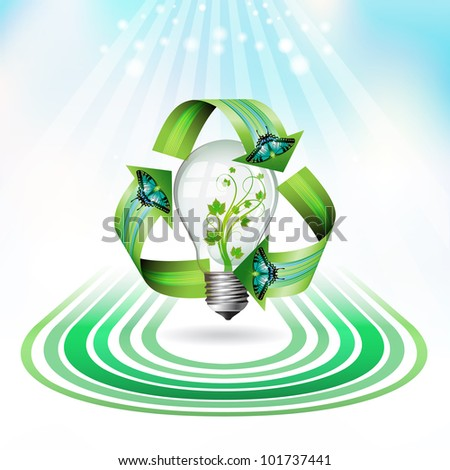 Eco bulb icon with concentric shapes