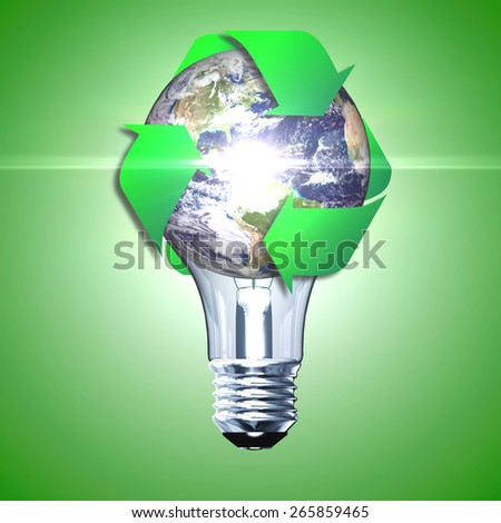 Eco bulb made from green leaves and eco sign. 3D render.  (Elements of this 3d rendered image furnished by NASA) - stock photo