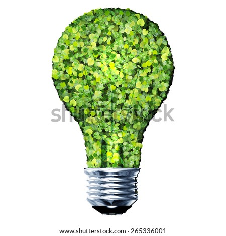 Eco bulb made from green leaves isolated on white background. 3D render. - stock photo