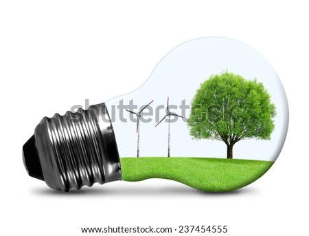 Eco bulb with wind turbines and tree isolated on white. Green energy concept.