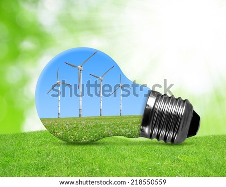 Eco bulb with wind turbines in grass