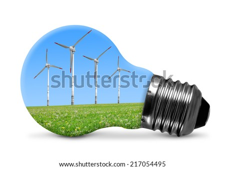 Eco bulb with wind turbines isolated on white