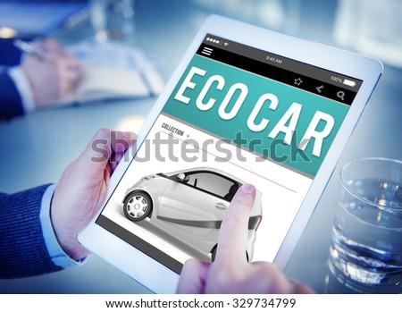 Eco Car Electrical Energy Fuel Hybrid Innovation Plug Concept - stock photo