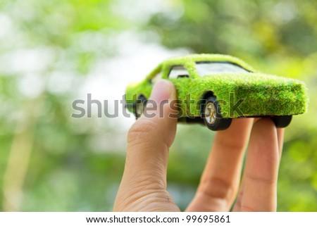 Eco car icon concept - stock photo