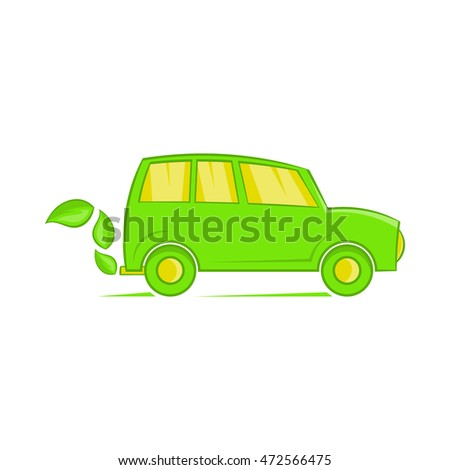 Eco car icon in cartoon style isolated on white background. Transport symbol