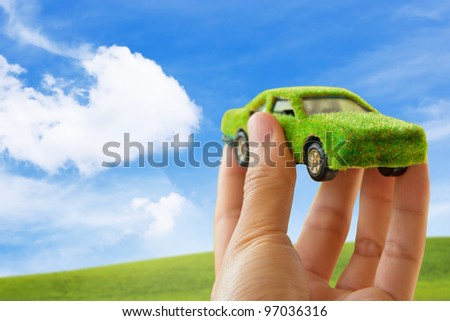 Eco car icon ,save energy concept - stock photo