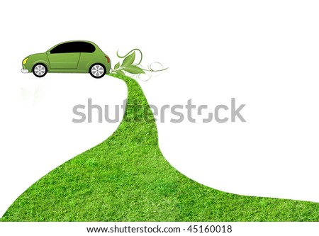 eco car on white background with grass track behind it - stock photo