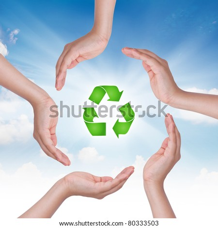 Eco concept : Business hand and recycling symbol - stock photo