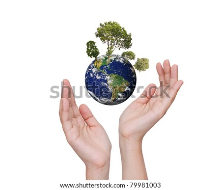 Eco concept : Earth in hands isolated on white - stock photo