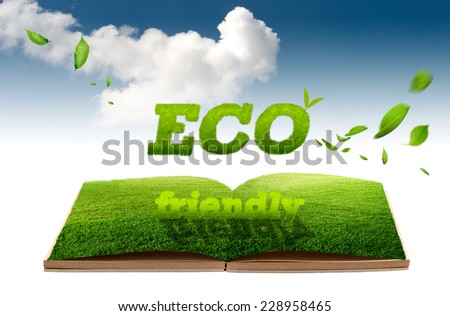 Eco concept, Grass on book and blue sky with cloud background - stock photo