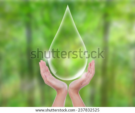 Eco concept : Hand hold water drop - stock photo