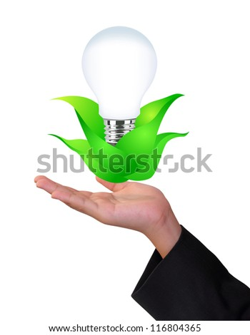 Eco concept hand with lamp and green plant on white background