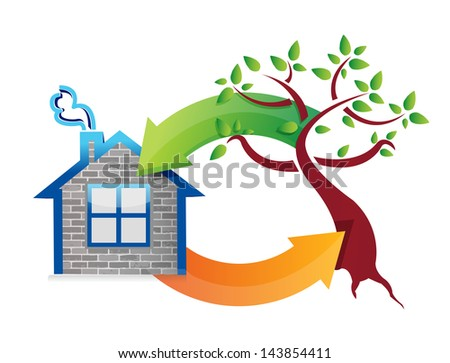 eco concept houses and nature. illustration design over white - stock photo