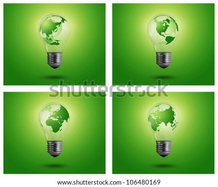 eco concept: light bulbs with map of world inside, Asian, Africa - stock photo