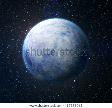 Eco concept. Planet covered with ice on a background of space. Nuclear winter.