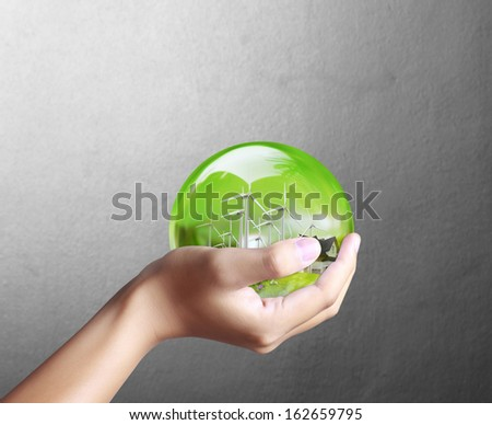 Eco concept the Hand hold water drop  - stock photo