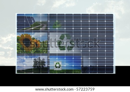 eco concept with solar cell - stock photo