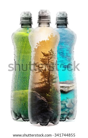 Eco concept with three plastic bottles filled with natural scenery images