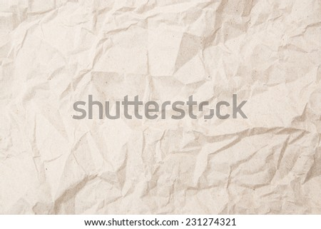 Eco craft crumpled paper background for cards and scrapbooking beige color - stock photo