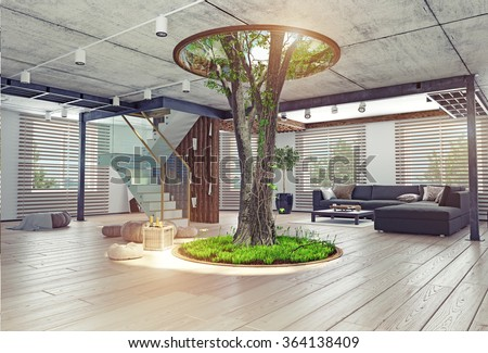 eco design of the modern interior. Real living tree indoor. 3d concept - stock photo