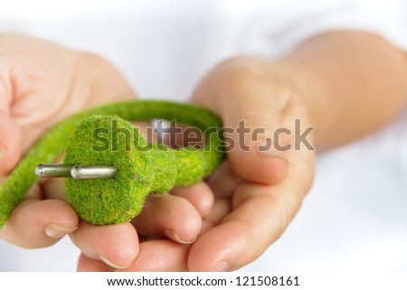 eco electric plug - stock photo
