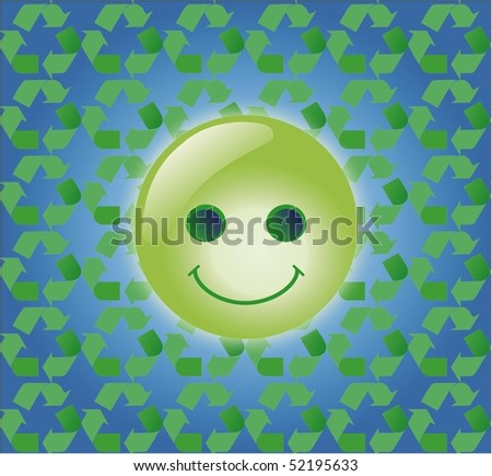 Eco emoticon on  green recycling background