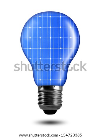 eco energy bulb from solar panel isolated on white - stock photo