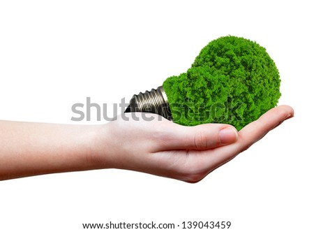 eco energy bulb in hand isolated on white - stock photo