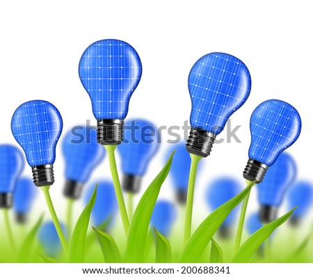 eco energy bulbs from solar panels on white background - stock photo
