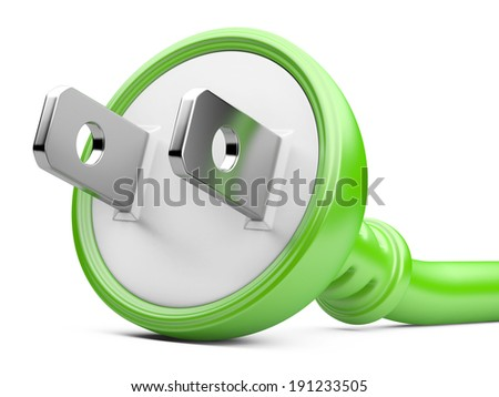 eco energy concept. electric plug isolated on a white background - stock photo