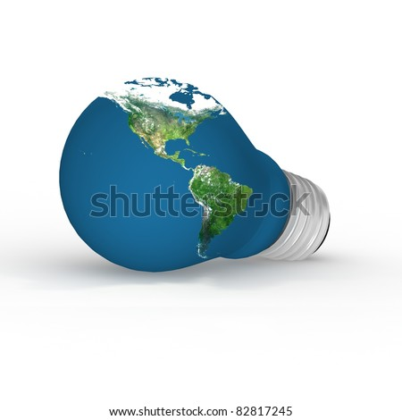 Eco energy metaphor - 3D lightbulb with worldmap.