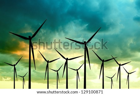 eco energy, wind turbines - stock photo