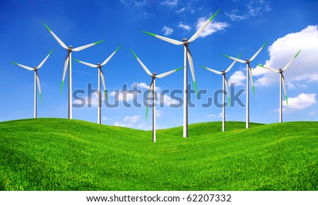 Eco energy - wind turbines farm - stock photo