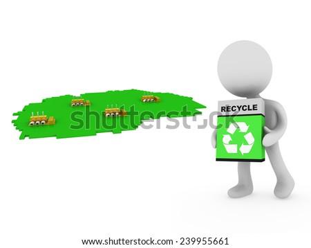 Eco factory - stock photo