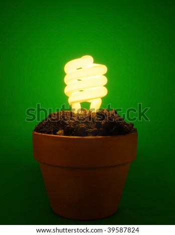 Eco fluorescent lamp concept - stock photo